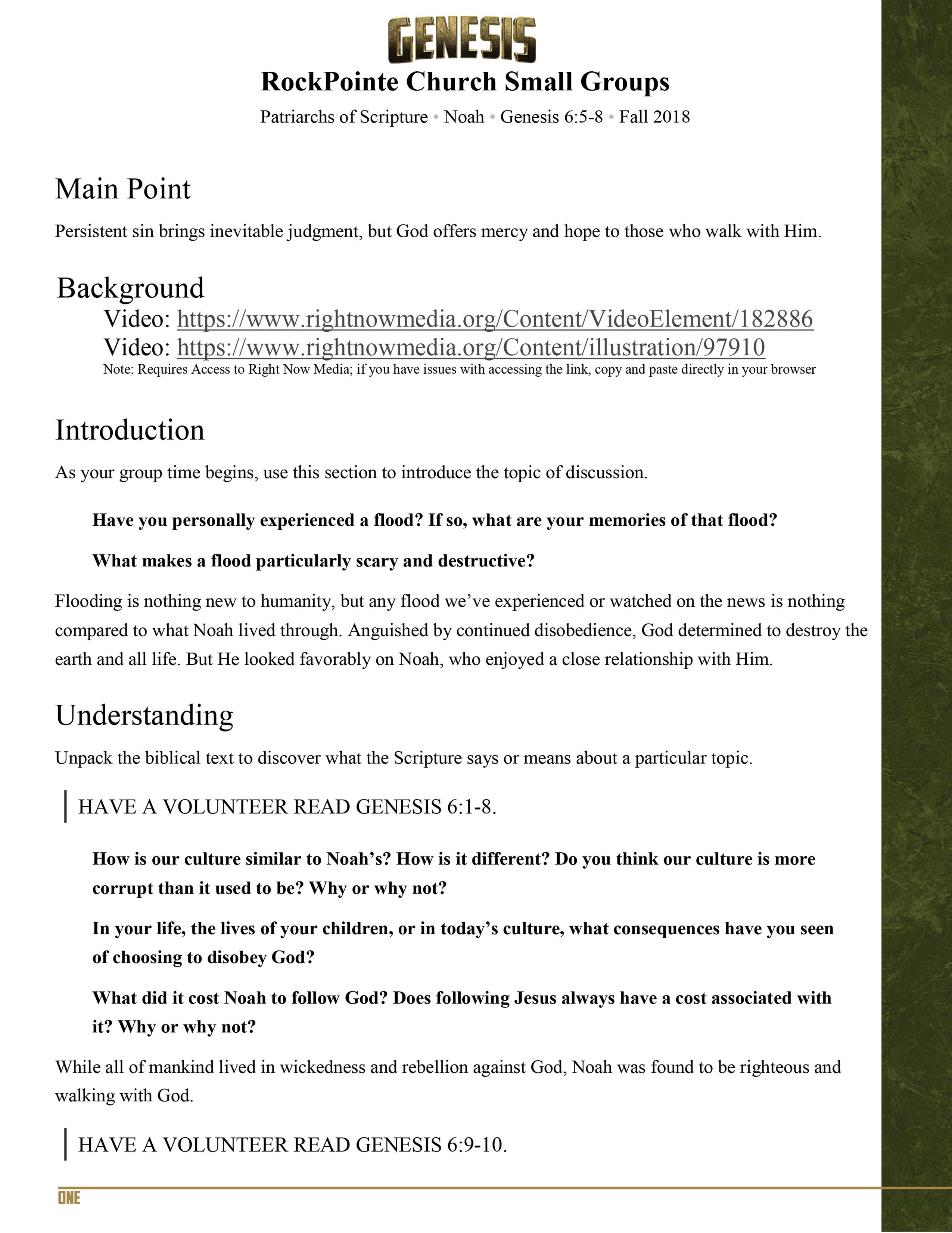 Noah-I-Genesis Small Group Study Guide