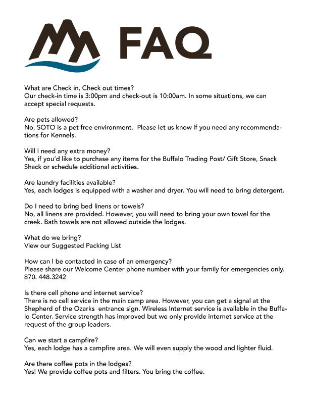 Family Camp FAQ